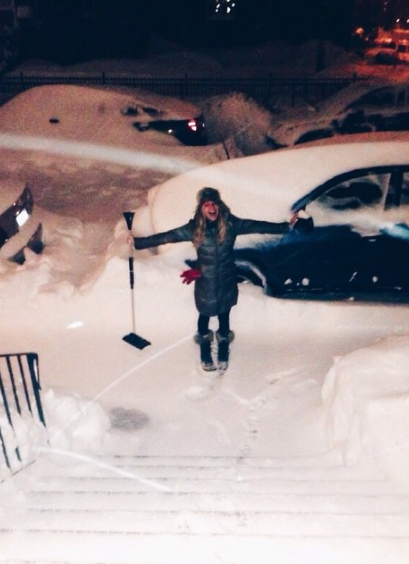 My sister took this picture of me during the first blizzard of 2015.  I specify first because there were about EIGHT of them in two months, with Boston breaking its snowfall record.  I am not a snow person.  I am a palm trees and sunshine person.  Thank god for garage parking.