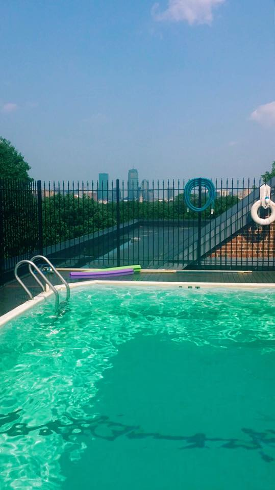 The pool on my roof overlooking Boston.  I'm a lucky girl!