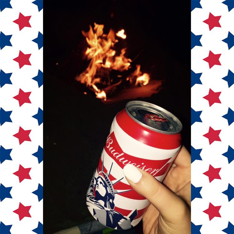My friends and I made a beach bonfire and drank the most patriotic beers I've ever seen!
