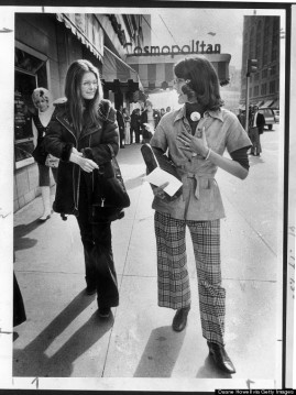 This photo was taken in 1974. Gloria Steinem, (L) accompanies Pat Schroeder to a fundraising $10 a plate luncheon to raise funds for her Co. campaign. HISTORICAL COLLECTION